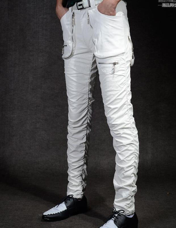 Punk Mens Nightclub PU Leather Pants Vogue Dance Long Party Slim DJ Trousers