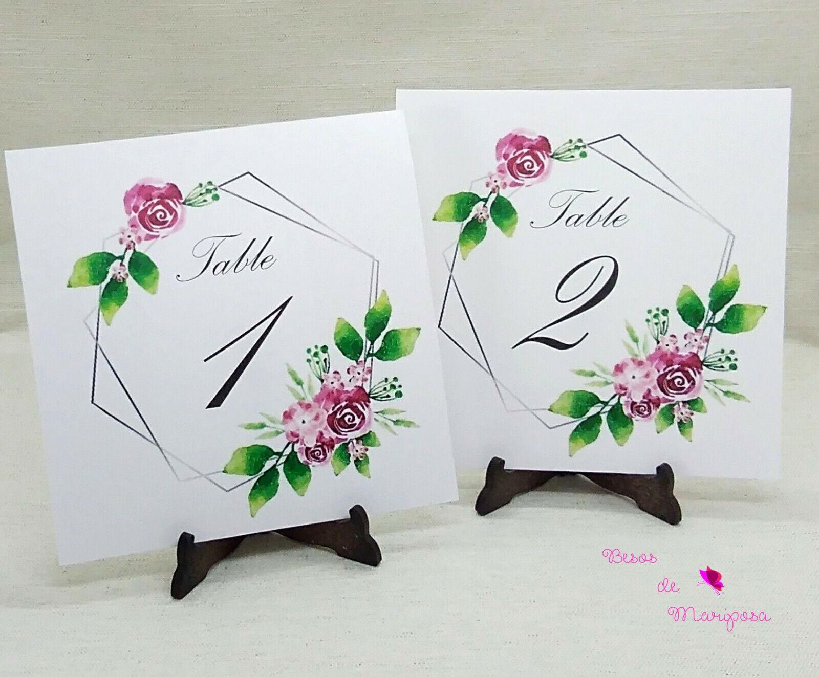 Número de mesa para boda. Número de mesa floral. 10 unidades