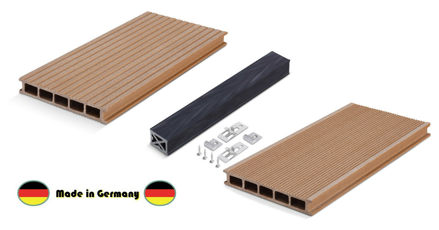 wpc terrassendielen made in germany braun 1 wahl komplettbausatz dielen holz set ebay. Black Bedroom Furniture Sets. Home Design Ideas