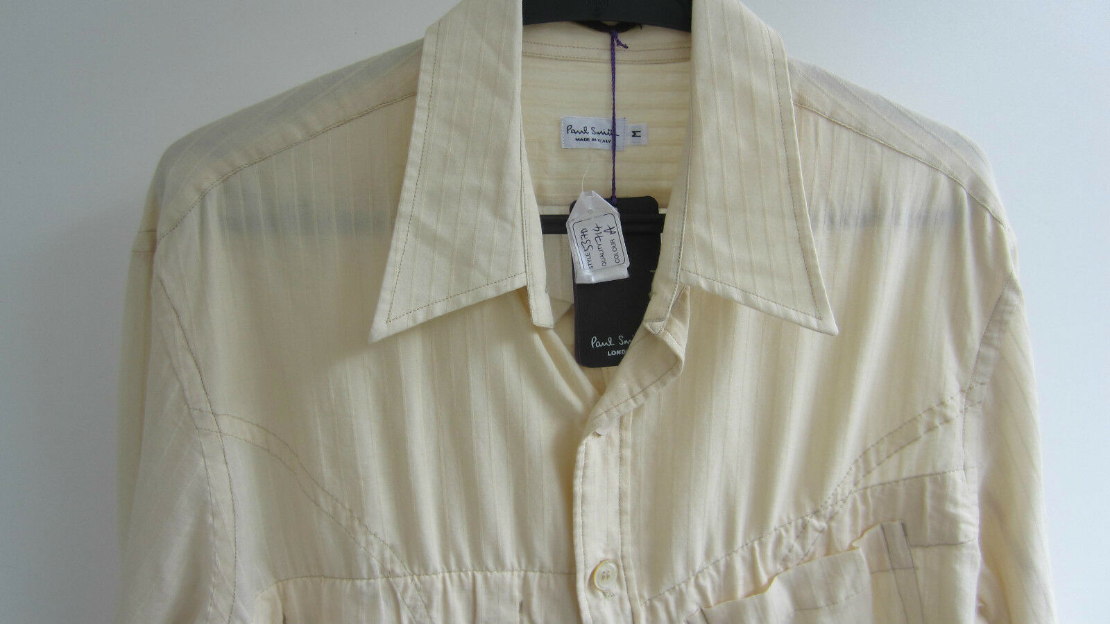 Paul Smith  MAINLINE  Cream Stripe Cotton Shirt P2P 20.5  Size M