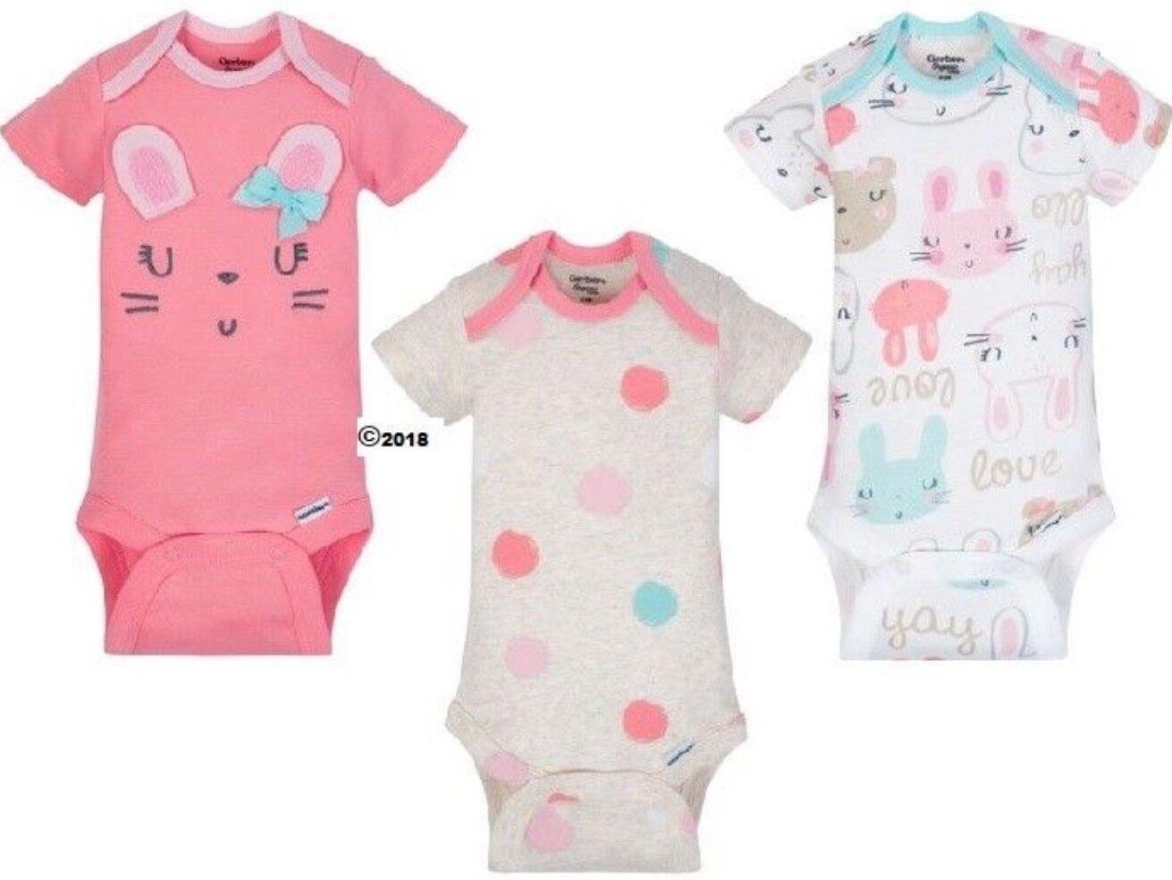 GERBER BABY GIRL Organic Cotton Onesies Bodysuits 3-Pk Bunny Pink Baby Gift