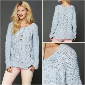 Free-People-Blue-Chunky-Cable-Pullover-Sweater-Large