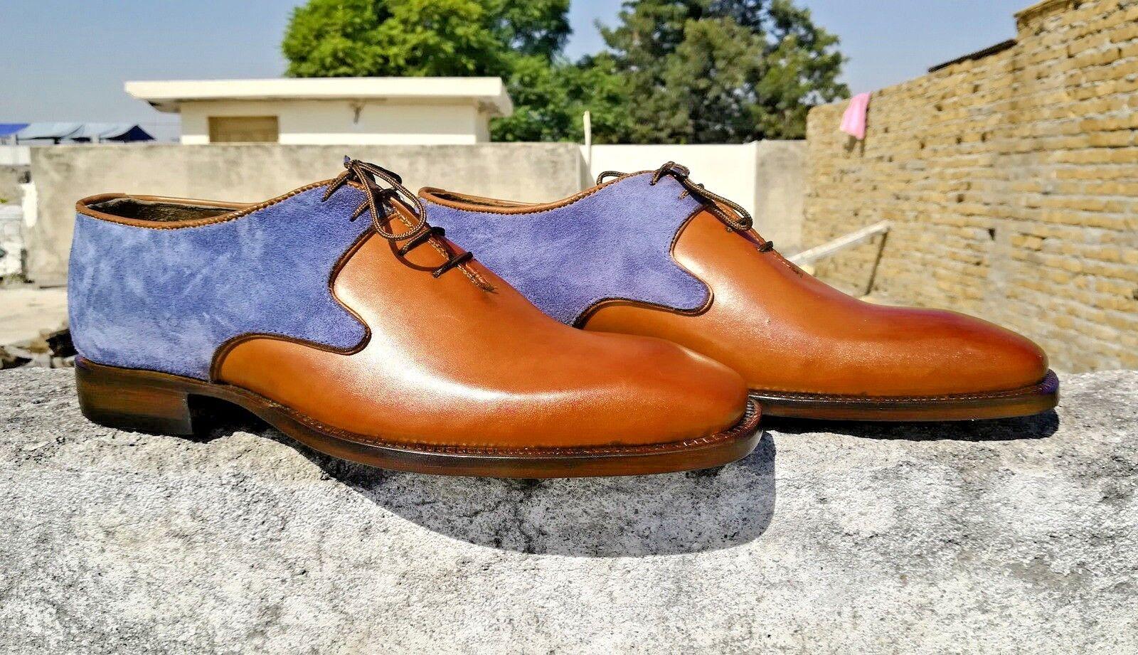 Hecho a mano para hombres Cuero Genuino azul Suede & Bronceado Con Cordones Zapatos Oxford Formal