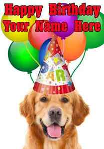 Golden Retriever Dog Happy Birthday Pid732 A5 Personalised