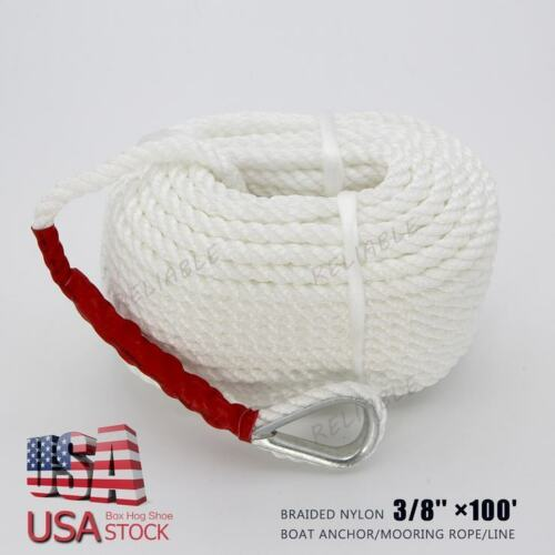 "White Twisted 3//8/"" x100/' ft Boat Marine Anchor Line Dock Mooring Rope 4000 lbs"