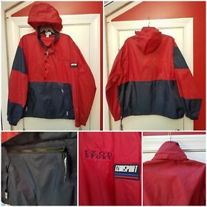 Men's Clothing Izod Sport Large Windbreaker Jacket Red Blue Hideaway Hood Pullover Pouch