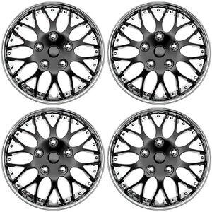 "4 pc Set Hub Cap ICE BLACK / CHROME TRIM 15"" Inch Rim Wheel Cover Caps Covers 643129815836"