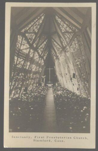 REAL PHOTO Postcard STAMFORD,CT 1st First Presbyterian Church Interior 1950's
