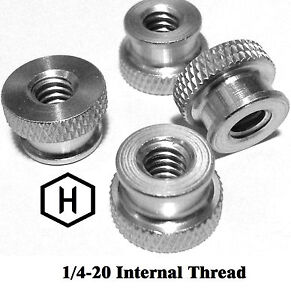 "1//4-20 x 3//4/"" Knurled Thumb Screw 10 Pieces Aluminum Black Anodized Finish"