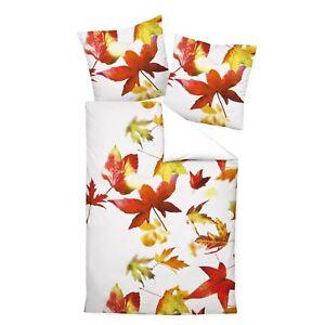 Janine Bettwäsche Modern Art 42032 04 Orangerot Herbst Ahorn Blätter