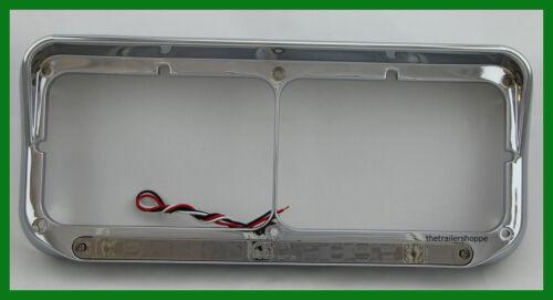 Chrome Plastic Dual Rect Headlight Bezel W// Visor 14 LED Amber Chrome Lens 1 Set