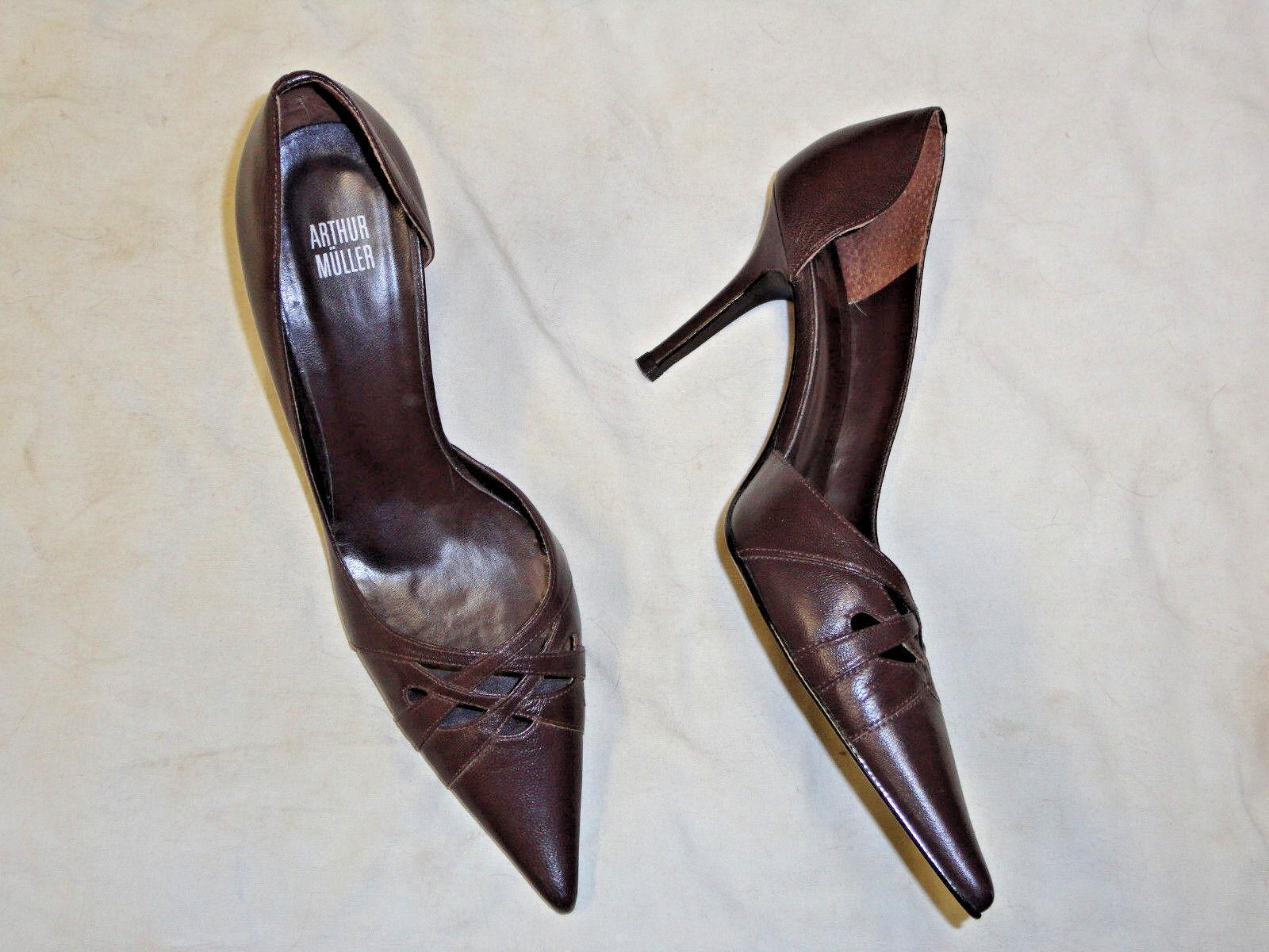 Arthur Muller heel  brown leather high heel Muller shoe   Size 9 0de2a8