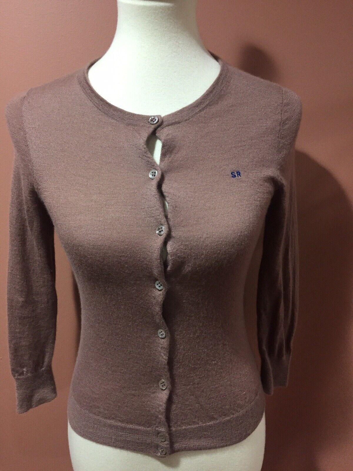 J Crew Collection SR Italian Cashmere Brown Cardigan Knit Top Size S