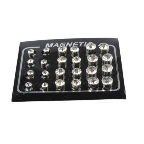 24 Paare 4mm 6mm 7mm Männer Unisex Ohrstecker Magnetische Ohrringe Silber