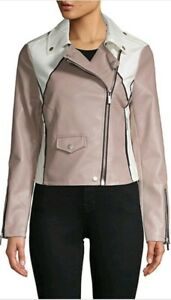 00f668105 NEW Bagatelle Women s Two Toned Biker Faux Leather Jacket Taupe ...