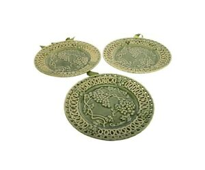 """3 Hosley Potteries Green Plates Pair Grapes Reticulated Scallop Lattice Edges 6"""""""