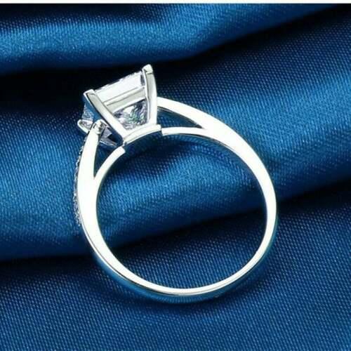 1 Ct Princess Cut Diamond Solitaire Wedding Engagement Ring 14K White Gold GP 4