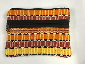 Vintage-Guatemalan-Yellow-amp-Red-Handwoven-3-Pouch-Coin-Purse-Clutch-Wallet-NOS