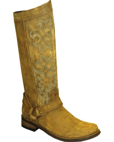 "Abilene Women's Rawhide By 12"" Tall Side Zipper Harness Boot Round Toe - 5911"