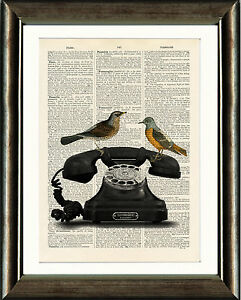 Old-Antique-Book-page-Art-Print-Vintage-Telephone-amp-Birds-Dictionary-Wall-Art