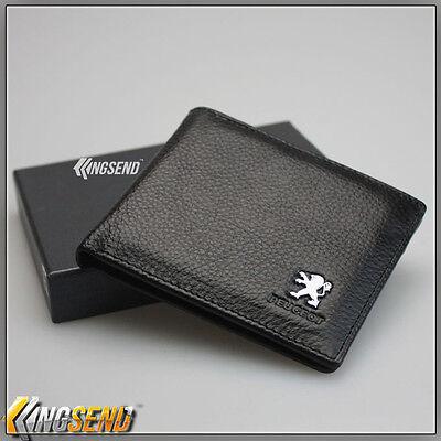 deluxe PEUGEOT Genuine 100% Cow Leather Bifold Wallet Men Slim Purse Car Pouch