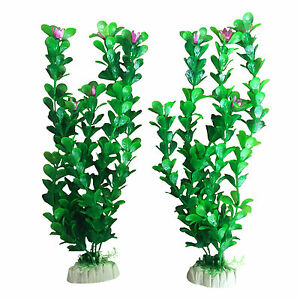 2-Aquarium-Fish-Tank-Plastic-Plants-Decoration-Ornament-12-034-Tall-Plant