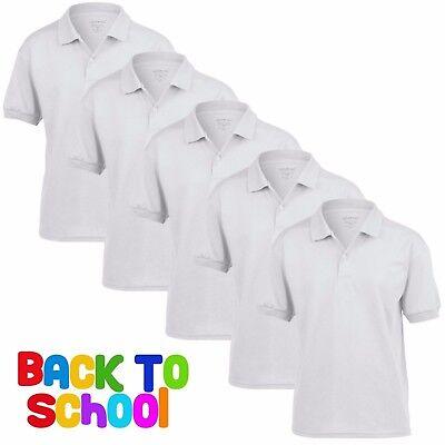 5 Pack Kids Boys Girls Gildan Dryblend Jersey Polo Shirt Casual Uniform School