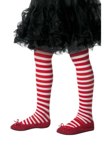 Striped Tights Childs Kids Girls Red /& White Halloween Fancy Dress Accessory
