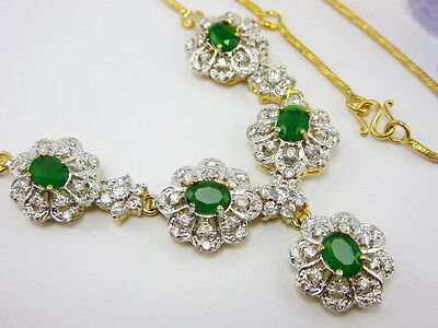 "STUNNING EMERALD COLOR CZ NECKLACE 17"" 22K 24K Yellow Gold GP Women Jewelry GT1"