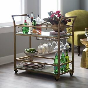 Retro Gold Bar Cart Serving Table On Wheels Beverage Wine Glass Rack