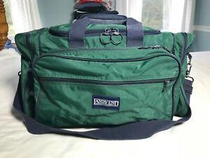 Lands-End-Large-Green-Duffle-Duffel-Bag-Travel-Luggage-Blue-Shoulder-Strap