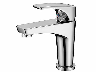 Modern Design Brass Single Lever Bathroom Sink Basin Mixer Tap - Chrome Finish