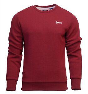 Superdry-Mens-New-Orange-Label-Crew-Neck-Sweatshirt-Pullover-Long-Sleeve-Red