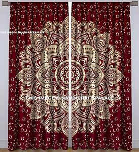 Image is loading Maroon-Gold-Ombre-Mandala-Curtains-Indian-Tapestry-Window- & Maroon Gold Ombre Mandala Curtains Indian Tapestry Window Door ...