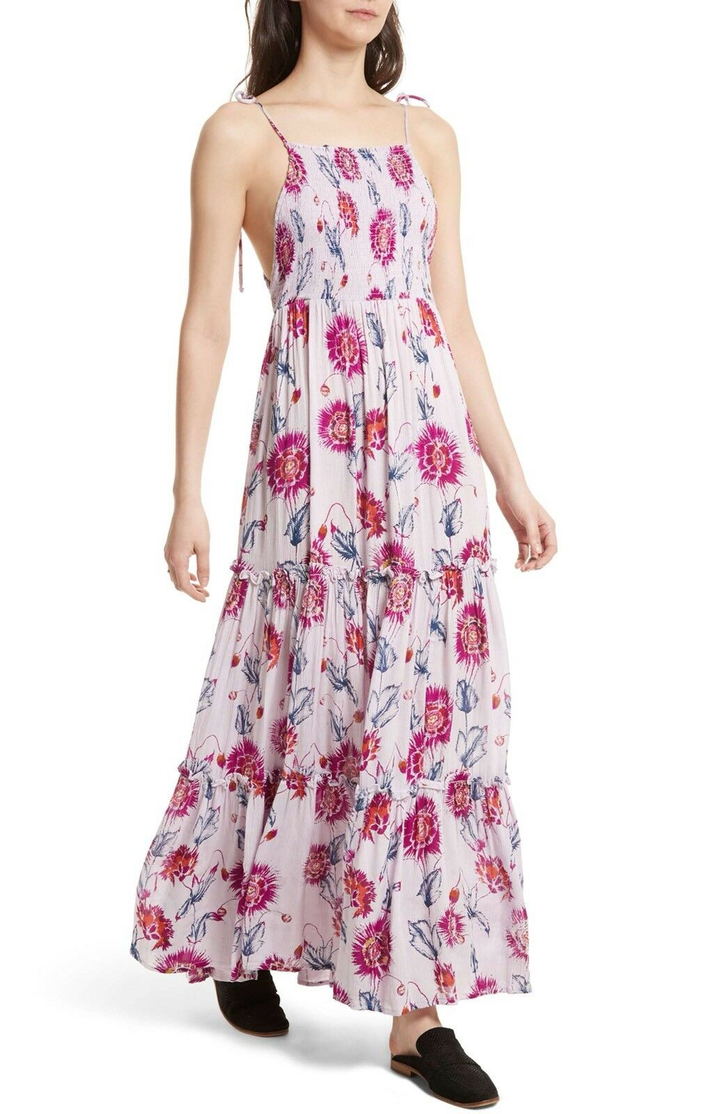 Free People Garden Party Floral Print Maxi Dress lila Combo Größe S