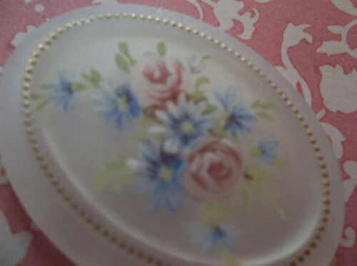Vintage Cameos 40X30mm Floral Cabochons Roses on Matte Crystal Base German Qty 1