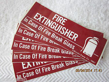 Lot Of 5 Self Adhesive Vinyl Fire Extinguisher Break Glass Signs 2 X 6 New