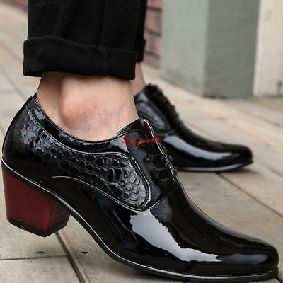 Mens Casual cuban Heel lace up casual dress Brogue formal Business oxford shoes