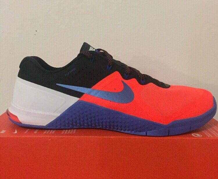 Nike Metcon 2 Sz 12 + 12.5 Total Crimson Blue Black White Training Shoe 819899-8
