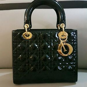 Image Is Loading Lady Dior Black Patent Leather Amp Gold Hardware