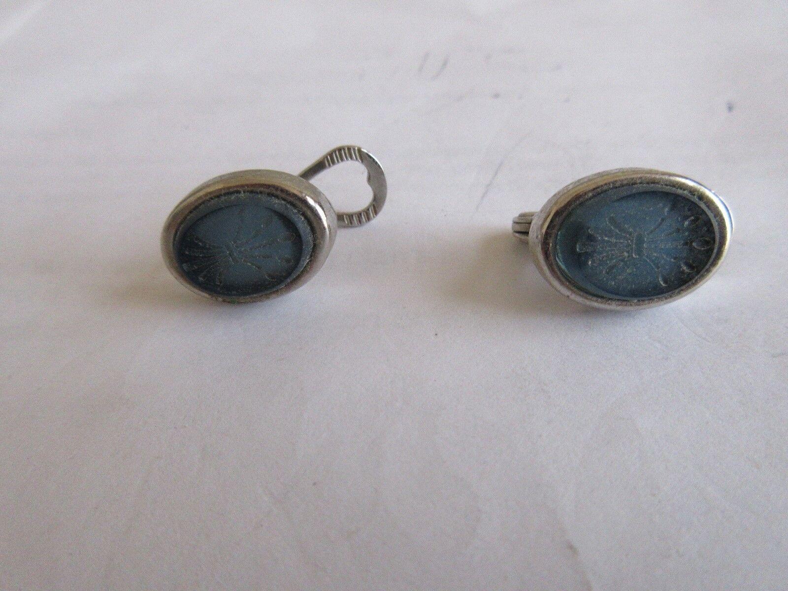 Cuff Links , Blue Stone , Unique Design , Vintage , 3/4
