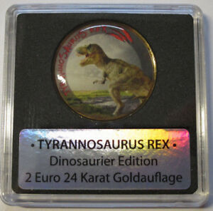 2-Euro-Muenze-Dinosaurier-Edition-TYRANNOSAURUS-REX-24-Karat-Goldauflage-amp-Farbe