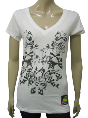 Womens Khirshin T Shirt  Top Off White Bow Tie Print Size 8 to 16 Ladies A2
