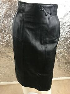 fb9ecb1dc726 Women's Vintage 1980's Black Genuine Leather High Waist Pencil Skirt ...