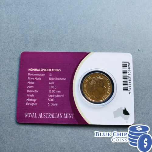 2015 UNC $1 /'B/' PRIVY MARK MOB OF ROOS COIN ON CARD