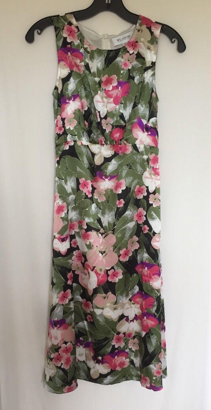 NWT ST.JOHN COLLECTION Floral Print 100% Silk Dress Sz 0   995