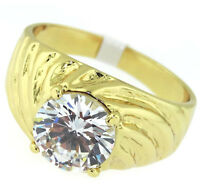 Clear Cz Stone 2.76ct Spiral Band 18kt Gold Ep Mens Ring