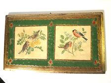 Vintage Florentia Italian Style Florentine Gilt Toleware Birds Wall Plaque ITALY