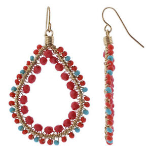 Gold-plated-Multicolor-Czech-Seed-Beads-Handmade-30mm-Long-Drop-Earrings