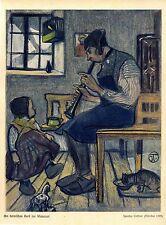 Ignatius Taschner, München Am heimischen Herd zur Winterzeit Kunstdruck dat.1902